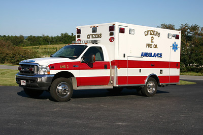 Ambulance 2 is this 2003 Ford F-450/PL Custom.  First ambulance for Company 2.  ex - Middletown, Virginia (Frederick County) Ambulance 12.  Sold to Middleway, WV in early 2016.