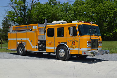 An officer side view of Middleway's 1995 E-One Cyclone rescue engine that was originally delivered and operated by West Grove, PA.