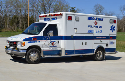 Ambulance 6-1 is a 1996 Ford E-350/Horton that formerly served in Pennsylvania.