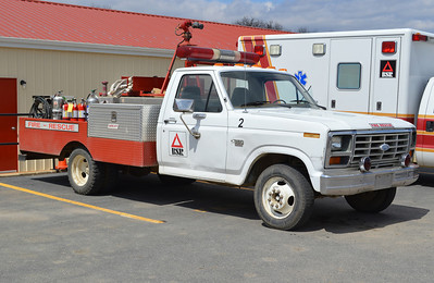 Former 'Fire Truck 2' was this 1982 Ford F-350/1994 FD, with a 250 gallon tank.  Deck gun on roof operated from cab.  Equipment from this truck was transferred to the Isuzu.  ex - Ambulance from Pennsylvania.