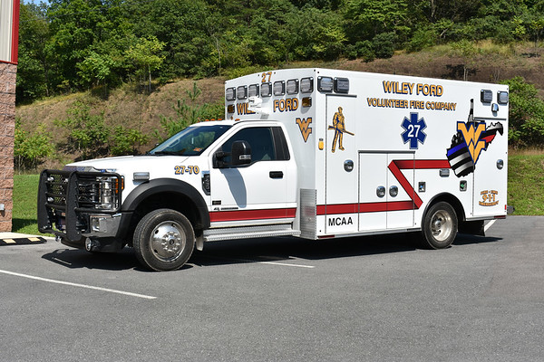 Wiley Ford, West Virginia (Mineral County) Ambulance 27-70, a 2017 Ford F450/Braun with Braun serial number 7470.