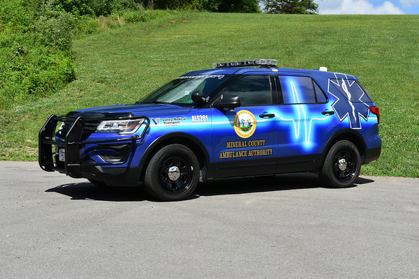 Mineral County, West Virginia ALS 201 is a eye catching 2018 Ford Explorer Police Interceptor.  Owned by Mineral County, it is staffed by Valley Medical paramedics.