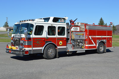 """After a very long history of American LaFrance engines, Keyser purchased this 1995 Emergency One Sentry in 2015 from Fogelsville, Pennsylvania (Upper Macungie TWP Fire Station 8).  Engine 33-11 is equipped with a top mount 1000 gpm pump and carries 1000 gallons of water.  It has E-One serial number 14833.  Note the """"V.R. & H. Co. No. 1"""" just above the front tire.  The Keyser Fire Department was once known as the Vigilant Reel and Hose Company Number 1 from 1897 through 1953.  This is a nice tribute to the departments history.  Engine 33-11 operates from Keyser's sub-station."""