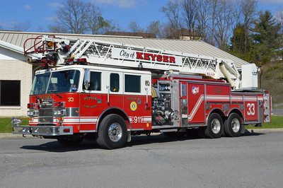 Keyser's Truck 33 operates from their substation.  It is a 1999 Pierce Dash 105' with a 2000/500 and job number EC173.  Originally delivered to Mt. Pleasant, South Carolina.  It was received in 2013 and replaced a wrecked 2003 KME 75' quint operated by Keyser.