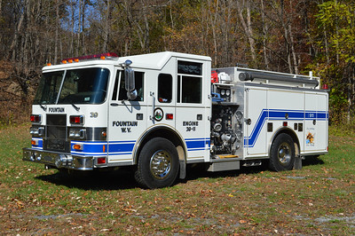 Fountain, WV in Mineral County.  Rescue Engine 39 is a 1999 Pierce Saber 1000/500 with job number EB926.