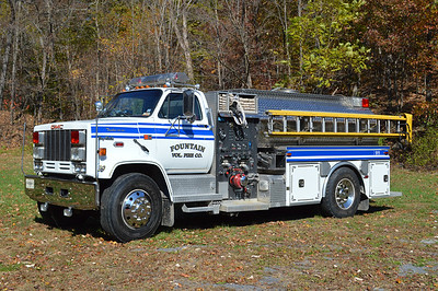 Fountain, WV Tanker 39 1988 GMC 7000 TopKick/1995 New Lexington  750/1500.  New Lexington serial number T-323.  This truck was purchased from Shaft, Maryland (Allegheny County) in 2003 and was originally a 1988 GMC/Darley.