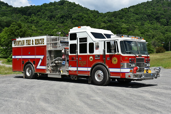 Fountain, West Virginia (Mineral County) - Rescue Engine 39-2, a 1995 Pierce Lance with a 1750/1000/40 and Pierce job number E9373.  Placed into service by Fountain on May 11, 2019.  Originally delivered to Pearl River, New York (Rockland County) - Pearl River Hook & Ladder Company.
