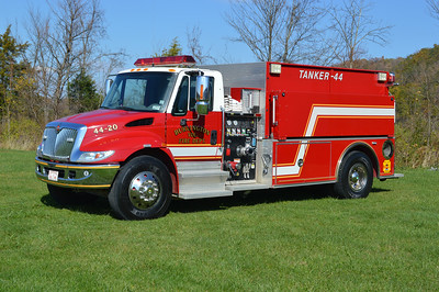 Tanker 44 from Burlington, a 2003 International 4400/2004 Pierce Contender  500/2000 with job number 14925.