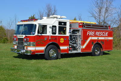 Burlington's Rescue Engine 44, a 1999 Pierce Saber 1000/750 with job number EC156.  Previous designation was 44-13.