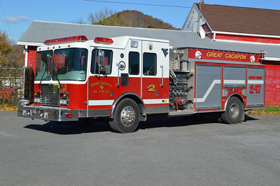 Rescue Engine 2 from Great Cacapon, West Virginia - a 2001 HME/New Lexington 2000/800/30.  Serial number 75188.