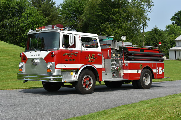 Privately owned is Berkeley Springs, West Virginia Engine 15, a 1970 Mack CF611F10 with a 1000/500 and serial number 1230.  Originally delivered to Martinsburg, West Virginia, it later was purchased by Berkeley Springs.  Photographed at the June 2019 Chesapeake Antique Fire Apparatus Association spring muster in Pleasant Valley, Maryland.