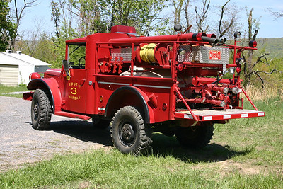 South Morgan, WV Brush 36-3, a 1952 Dodge PW M-37/1978 FD/1990 FD with a 80/150.  Ex- military cargo carrier and ex- WV Forestry.