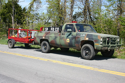 Brush 3-62 from South Morgan, a 1986 Chevrolet K30/2011 FD 120/270.  Ex- WV Forestry.  With Light Trailer.