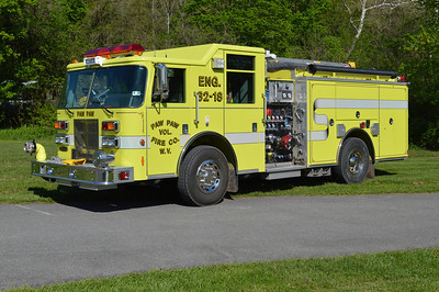 Paw Paw Rescue Engine 32 (old 32-18), a 2003 Pierce Saber with a 1250/980/20 and job number 14971.