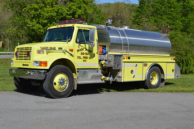 Tanker 32 from Paw Paw, a 1999 International 4900/4-Guys 500/2000 with serial number F-2020.
