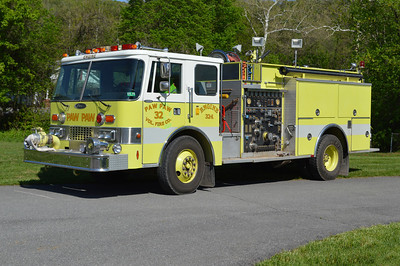 Engine 32-1 from Paw Paw, a 1985 Pierce Dash 1000/750/100 with job number 3105-01.  Original delivery to the US Navy Cheltenham Camp, Maryland.  It then went to Great Cacapon, WV where it never entered service.  Paw Paw received the Pierce in approximately 2011.