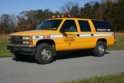 Former Utility 40 is a 1993 Chevy Suburban.  Sold to Paw Paw, WV, in 2017.