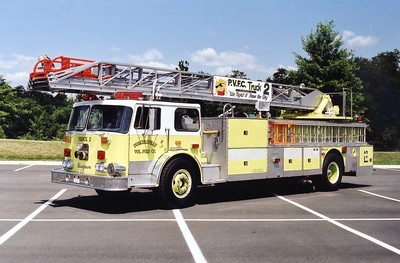 Former Truck 2 from Purcellville was this nice 1974 Seagrave SR, 100', sn- D75015.  Rehabbed in 1991 by the Brunswick Correction Facility.  Former Sterling Fire Department, sold to Circleville, West Virginia.