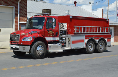 Petersburg Tanker 492 is a 2014 Freightliner M2-106 6x4/Pierce that carries 3000 gallons of water and has a 500 gpm pump.  Pierce job number 27492.