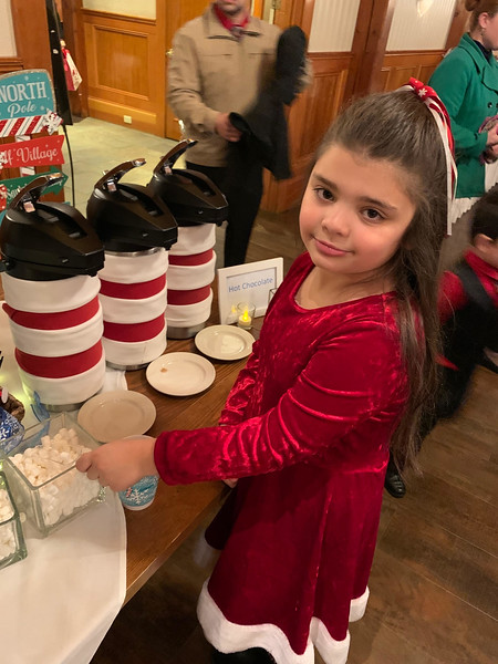 Maria Dellas of Lowell enjoys hot chocolate.