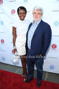 Mellody Hobson and George Lucas attend  the 2012 Compound Foundation Fostering A Legacy Benefit honoring George Lucas at a private residence in East Hampton.(July 14, 2012) Rob Rich/SocietyAllure.com