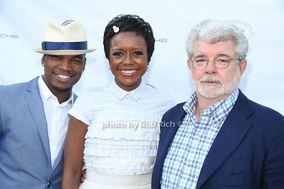 Ne-Yo,Mellody Hobson and George Lucas attend  the 2012 Compound Foundation Fostering A Legacy Benefit honoring George Lucas at a private residence in East Hampton.(July 14, 2012) Rob Rich/SocietyAllure.com