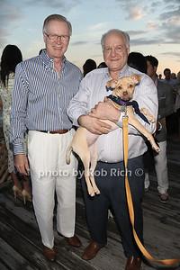 Chuck Scarborough, Donald the dog, and Steve Schutzer attend the Animal Rescue Fund of the Hamptons Annual Beach Ball Gala at the Bridgehampton Bath and Tennis Club in Bridgehampton. (August 18, 2012) photo credit: Rob Rich/SocietyAllure.com