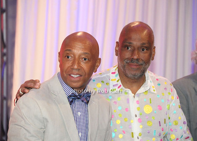 Russell Simmons and brother Danny Simmons attend Russell Simmons Rush Philanthropic Arts Foundation 13th.Annual Art for Life benefit at the private residence of Russell Simmons in East Hampton (July 28, 2012). Rob Rich/SocietyAllure.com