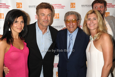 "Hilaria Baldwin, Alec Baldwin,Tony Bennett, and Susan Benedetta attend The HIFF Summerdoc screening of ""The Zen of Bennett""  at Guild Hall iin East Hampton. (August 13, 2012) photo credit:Rob Rich/SocietyAllure.com"