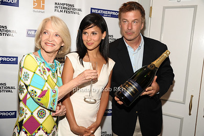 Ruth Applebaum, Hilaria Thomas Baldwin, and Alec Baldwin attend the Movie Sceening of Searching for Sugar Man at Guild Hall in East Hamptonn. (July 6,2012) photo by Rob Rich/SocietyAllure.com