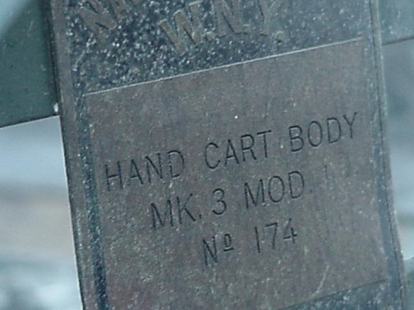 """The 3 data plates are interesting. The one underneath on the drawbar says it the """"carriage MK3"""", one on the body says """"body MK3"""", then the third one says 81mm mortar ammunition cart M3 serial number 4"""