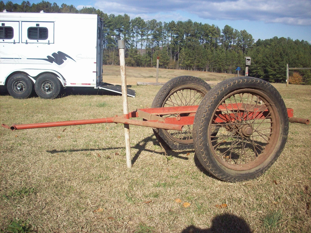This cart was used at Camp Croft (SC). It was sold as surplus to the local school district and is said to have been used to move canned goods in the cafeteria.  It was eventually was brought to Inman, SC by a school maintenance worked and used as a garden cart. The cart was later at a yard sale to the current owner (actually purchased and given as a Christmas gift by the owners mother-in -law, thanks Ev).