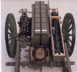 MODEL OF 1917 MACHINE GUN & AMMO CARTS