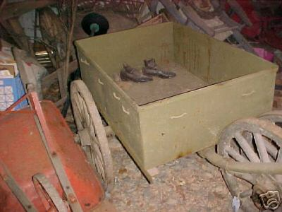 FROM ESTATE BARN! U.S. SALES ONLY!    To the best of my knowledge this is a WW1 ammo cart used for delivering ammo along the trenches.  There are only a few left in the world!  It was verified by Rock Island Arsenal in the 60's.  It has been said that it could be a WW2 airborne ammo cart but I have serious doubts.  Wheels that are on it are in bad shape but comes with two exc. original wheels as well.  The metal was total refurbished some years ago and the sheet metal box was fabricated to exacting specs.  Really just needs a good cleaning and new oak handle that fits just below the lunette.
