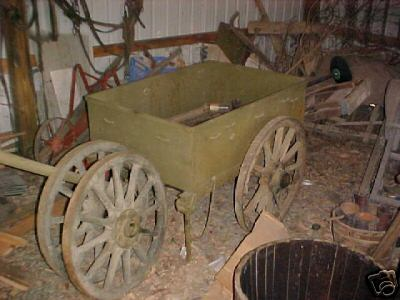 Cart was on EBAY. Asking $1500. Body is new manuafatured. Asking price is too high for todays market.    This is a T4E1. Was not made by R.I.A.   <br /> <br /> FROM ESTATE BARN! U.S. SALES ONLY!    To the best of my knowledge this is a WW1 ammo cart used for delivering ammo along the trenches.  There are only a few left in the world!  It was verified by Rock Island Arsenal in the 60's.  It has been said that it could be a WW2 airborne ammo cart but I have serious doubts.  Wheels that are on it are in bad shape but comes with two exc. original wheels as well.  The metal was total refurbished some years ago and the sheet metal box was fabricated to exacting specs.  Really just needs a good cleaning and new oak handle that fits just below the lunette.