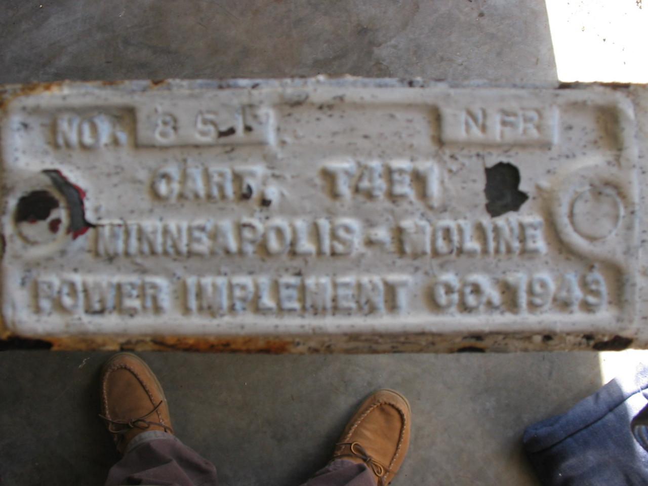 1943 <br /> <br /> T4E1 MINNEAPOLIS-MOLINE CART<br /> <br /> SERIAL # 851<br /> <br /> (Craig Johnson Collection)