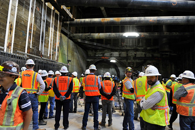 HARRIET THE TUNNEL BORING MACHINE ARRIVES AT LEIMERT PARK STATION TO COMPLETE THE FIRST OF TWO TUNNELS FOR CRENSHAW/LAX RAIL PROJECT. CITY, COUNTY STATE AND CONGRESSIONAL MEMBERS WERE APART OF TODAY'S HISTORIC EVENT. 2016. PHOTOS BY VALERIE GOODLOE