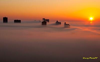smoke and fog at Pensacola Beach, Florida