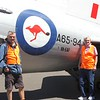 "Warwick and Peter beside RAAF C-47-""Dakota"" A65-94. Our father navigated this specific aircraft in 1952 in WA during the Monte Bello Atomic tests."