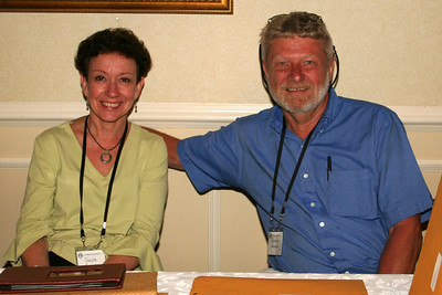 Friday evening reception.  Rodney and Gail manning the registration desk.