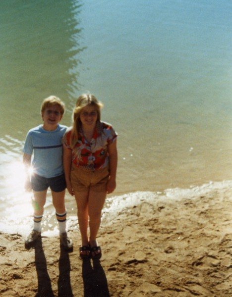Lisa and Tommy along the beach Illikai Hotel, Hawaii, 1981
