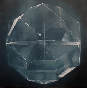 "Black Sphere-Haxton, 40""X40"" on canvas"