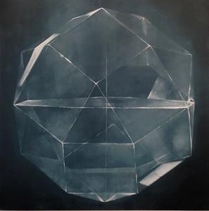 "Black Sphere-Haxton, 40""X40"" on canvas"