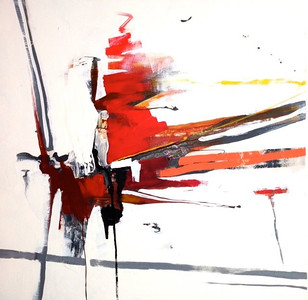 """Sakuska red-Haxton, 48""""x48"""" on canvas"""