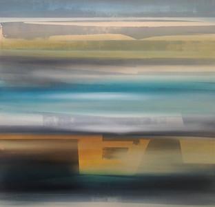 "Teal Tan Sienna Raw-Haxton, 48""x48"" oil painting on canvas"