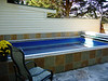 Custom built fence (to mimic exterior of home), reclaimed patio pavers surround this lap pool.