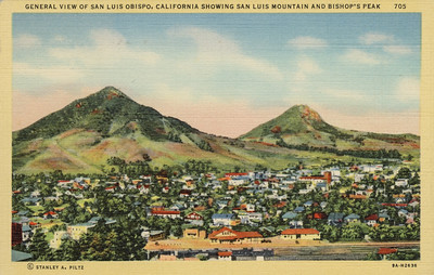 General View of San Luis Obispo showing San Luis Mountain and Bishop's Peak.