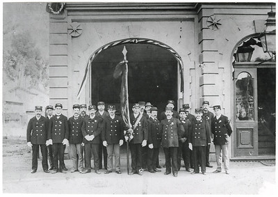 San Luis Obispo Firemen in front of orginal firehouse, circa 1900. #01.01.1072