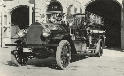 Fire Truck in front of the first San Luis Obispo Fire Station, circa 1930, #01.01.1078