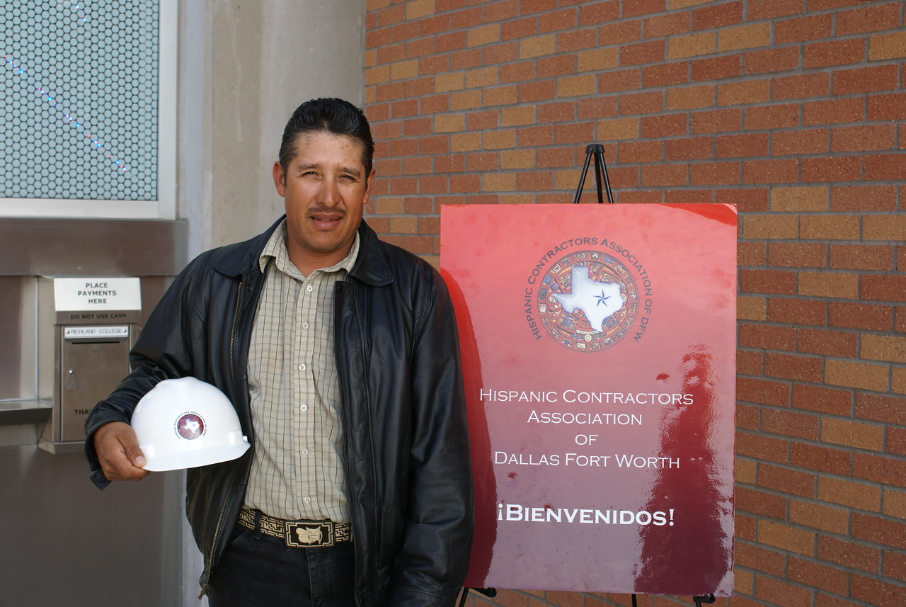 Construction Safety Quiz winner with his new HCADFW logo construction helmet.